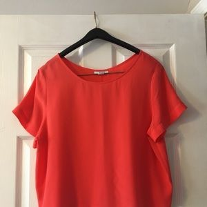 Bar III Tops - Silk, coral cropped blouse